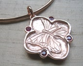 Rubies in Rose Gold over Pink Silver-Cherry Blossom/ Butterfly Bangle