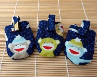 Happy Sock Monkeys HUSH PUPPY Dog Tag Covers