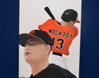 Baltimore Orioles Manny Machado 12x16 Painting