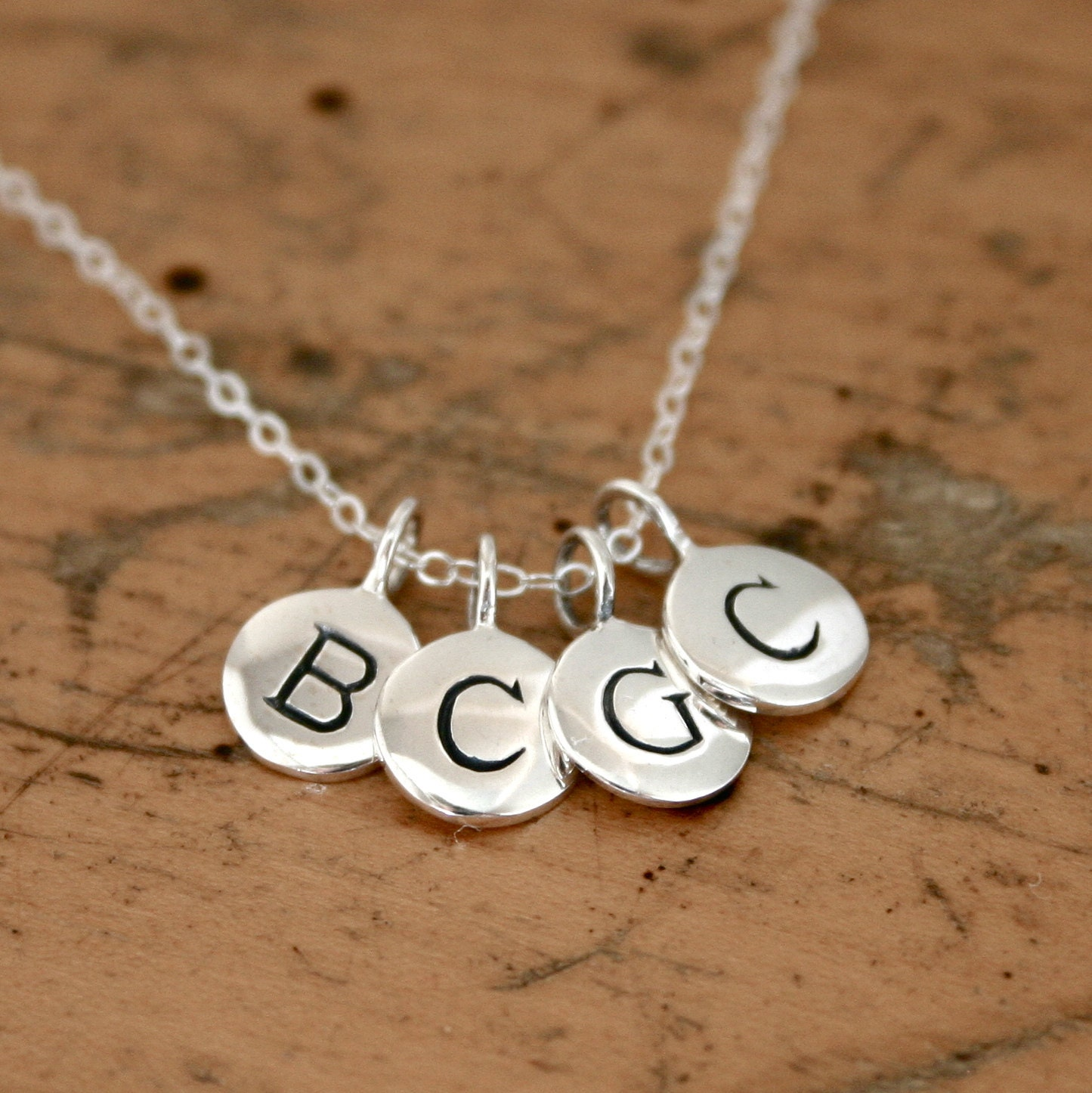 Initial Charm Bracelets: Mothers FOUR Initial Charm Necklace Sterling Silver By