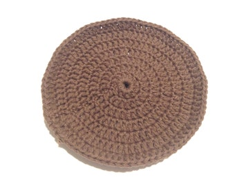 Dark Brown Crocheted Round Dish Cloth