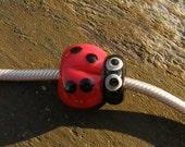 Lady Bug,  Big Hole Charm Glass Lampwork Bead, Simply Lampwork by Nancy Gant SRA G55
