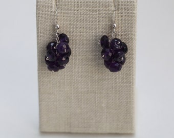 Earrings: Faceted Amethyst Clusters with Silver Chain and Sterling Silver Ear Wires