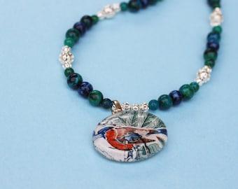 Beaded Vintage Postage Stamp Necklace - Antique Bird