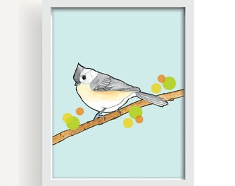 "bird, drawing, modern home decor, watercolor, large wall art, spring leaves, blue, home decor, modern decor, art print - ""Tufted Titmouse"""