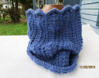 Cowl --- heathered blue, circle scarf, cowl, neckwarmer,