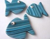 Fish handmade magnets, stripes blue teal light blue turquiose colors, set of 3