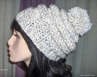 Womans Pompom Knit Hat Slouchy Beehive Beanie Beehive Hat Knit Beehive Womens Knit Womens Hat