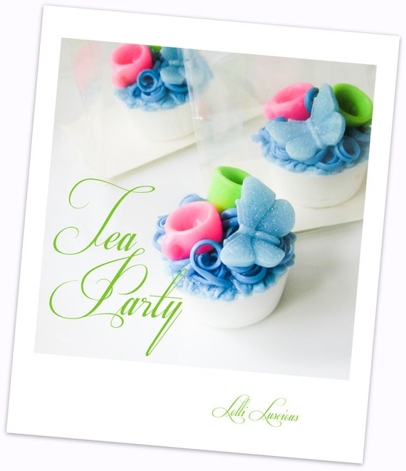 Tea Party (Alice in Wonderland) Lolli Soap Tart ... adorable party, wedding and shower favors.