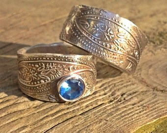 Artisan wedding band SET/mendhi paisley/bohemian/custom wedding Ecofriendly
