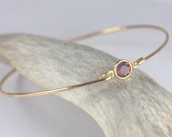 February Birthsone Swarovski Amethyst Gold Bangle Bracelet, Gold Bracelet, Amethyst Bangle Bracelet, Birthstone Bracelet #773