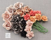 Coral, Black, Peach Paper Flowers - Prima Lyric - 20 roses - Embellishments, Scrapbooking, Millinery