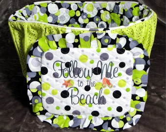 Bike Basket Liner - Lime Dots - Bicycle Basket Liner  - Dogs - Pets - Includes Embroidered Personalization - Memory Foam Pad