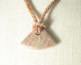 Natural Stone Pendant on a Kumihimo Rope Necklace