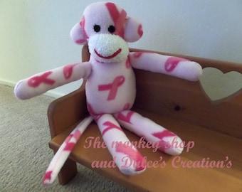 Cancer awareness monkey  plush toy Handmade Stuffed Animal Doll Baby ready to ship