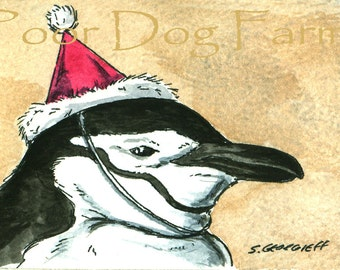 ACEO signed PRINT - Party Penguins no 3 (in a series)Chinstrap Penguin in a Party Hat-