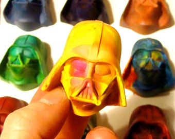 Kids VADER Crayons - 4 Recycled Crayons - Set of 4 Mini Invader Rainbow Crayons (Rainbow Mix Recycled Rainbow Crayon Set)
