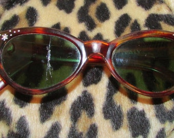 Italy Cateye Glasses Brown with Rhinestones True Vintage