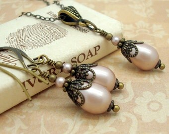 Regency Style Necklace Set with Powdered Almond Teardrop Swarovski Pearls