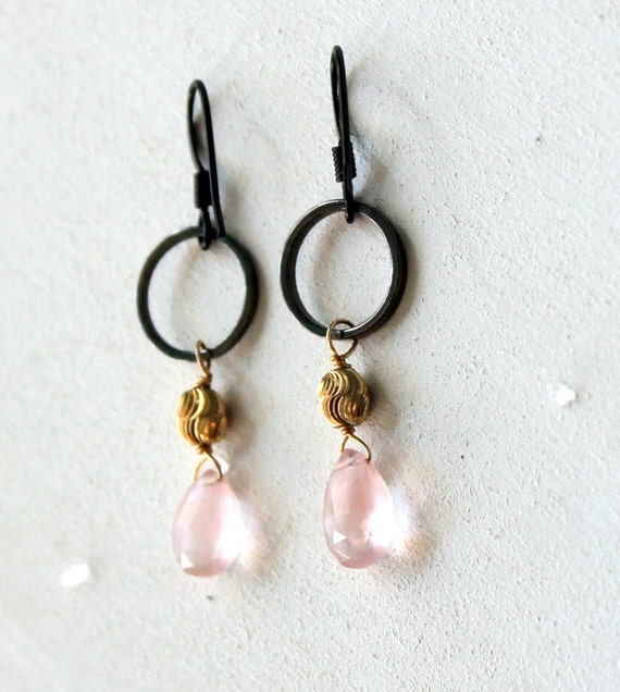 Pale Pink Earrings, Black Hoop Earring, Gift Earrings, Rose Quartz, Ballet Pink, Pink Blush, Pink Gold Black, Black and Pink, Dangle