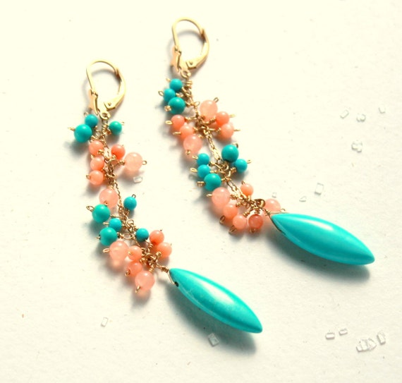 Turquoise Coral Earrings, Turquoise Peach Long Earrings, Coral Salmon, Gold Artisan Jewelry, GOLD FILL Dangling Long Earrings,  SALE