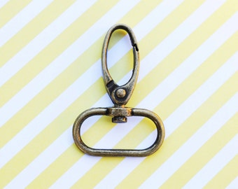 FREE SHIPPING--100 Anti Brass Swivel Clasps Hooks with 1 inch loop end