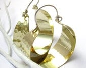 Big Brass Hoop Earrings, Bright And Shiny Large Hoops, Brass And Sterling Silver Hoops, Statement Earrings, Mixed Metal Earrings