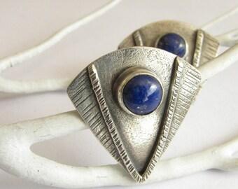 Lapis Lazuli Earrings, Contemporary Earrings, Geometric Earrings, Sterling Silver Earrings, Lapis Jewelry, Post Earrings, Silver Jewelry