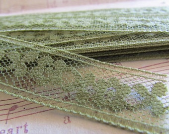 Vintage Avocado Green Lace- 3 Yards
