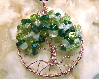 Rose Gold Tree of Life necklace  - Green Gemstone Tree of Life pendant - Emerald Aventurine Peridot Rainbow Moonstone Quartz crystal