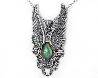 Large Labradorite Necklace Steampunk Gothic Pendant Labradorite Silver Pendant Fantasy Jewelry Angel Wings statement pendant gothic jewelry
