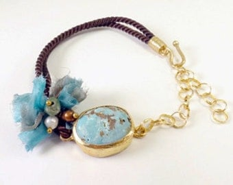 Special Turquoise Gold Plated Silver Bracelet