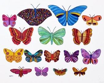 16 Butterflies: an original painting