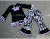 Princess Crown Outfit, Princess Crown Birthday Girl Outfit, Zebra Print Girl Outfit, Zebra Lavender Birthday Pant Tee Outfit
