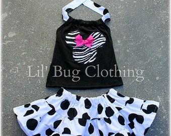 Custom Boutique Jumbo Dot Tiered Skirt Black White Zebra Halter Set Minnie