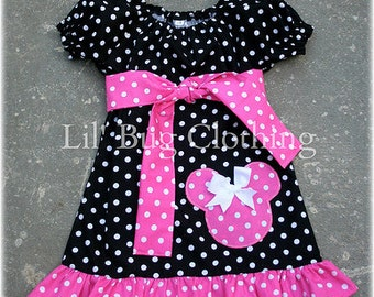 Custom Boutique Clothing Pink White Polka And Black Dots  Dot Minnie Mouse Peasant Dress