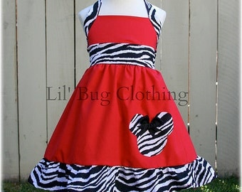 Custom Boutique Clothing Red and Zebra Minnie Mouse Halter Dress