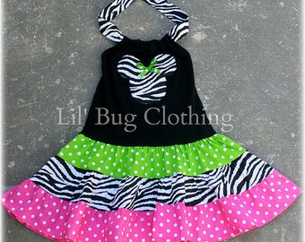 Custom Boutique Clothing Zebra Lime Pink Polka Dot Minnie Tiered  Halter Dress Girl