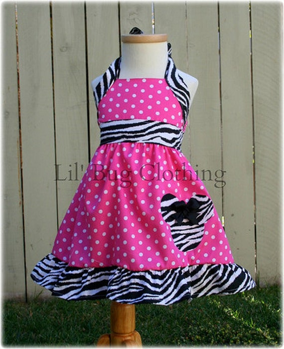 Custom Boutique Clothing Pink Polka Dot and  Zebra  Minnie Mouse Halter Dress