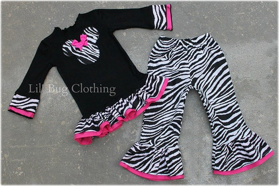 Custom Boutique Clothing Disney Minnie Mouse Black Knit Top Zebra Print Pant