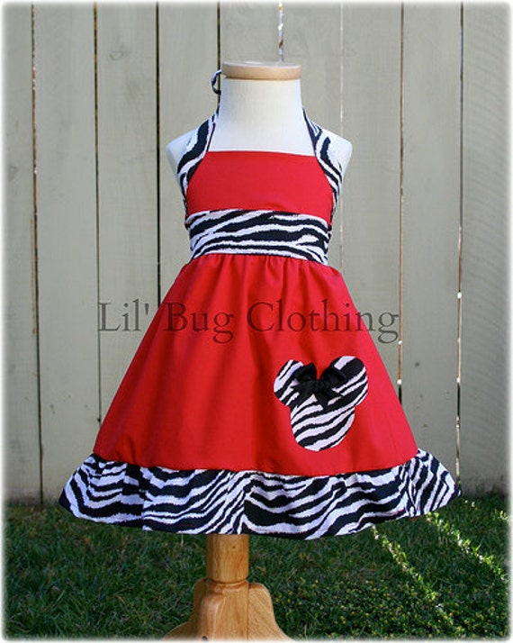 Minnie Mouse Red Dress, Minnie Mouse Zebra Print Dress, Minnie Mouse Girl Outfit, Minnie Mouse GIrl Clothes