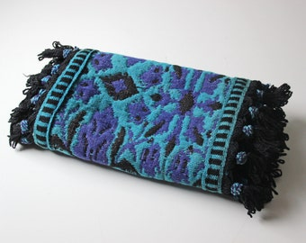 blue wool woven tapestry table runner