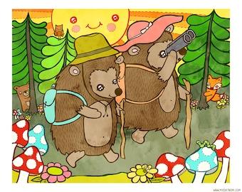 Hedgehog Hike  8 x 10 Illustration Print