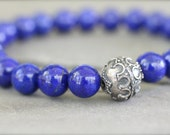 Genuine AAA Lapis Lazuli and Bali Sterling Silver Gemstone Bracelet. Stretch Bracelet. Mens or Womens