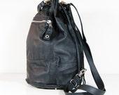 Amelie - Handmade Black Leather Duffel Shoulder Bag SS14