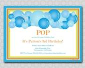 Bubble Party Birthday Printable Invitation - 5x7 Digital Invite