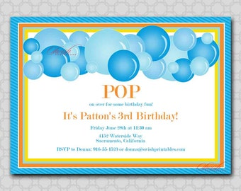 Bubble Party Birthday Printable Invitation - 5x7 Digital Invite