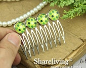 4pcs 46mm Silver 10 Teeth Hair Comb with 12mm Cameo Setting HA443A