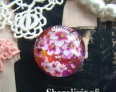 Glass Cabochon, 8mm 10mm 12mm 14mm 16mm 20mm 25mm 30mm Round Handmade photo glass Cabochons   (Japanese Flower) -- BCH703C
