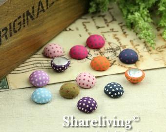 20pcs 15mm Handmade Mixed Dot Fabric Button Cabochons   -- FBM001